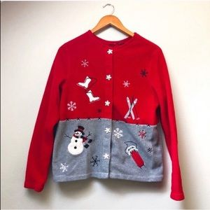 """Tops - """"Ugly"""" Holiday Fleece Snowman Red Gray"""